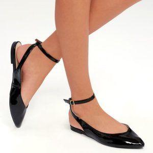 Lulus Laramie Black Patent Pointed Toe Flats